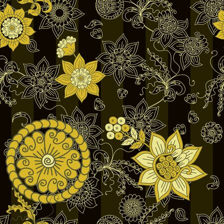 Floral seamless pattern with golden flowers in russian style. Beautiful print for fabric.