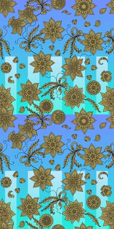 Beautiful seamless pattern with golden flowers on sea background. Print for towel. Reklamní fotografie - 138376214