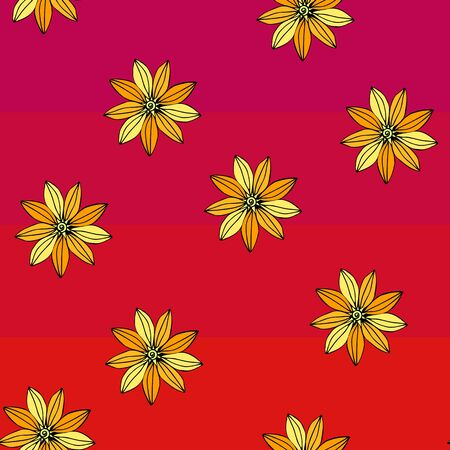 Bright yellow flowers on striped red background. Floral seamless pattern. Summer design.