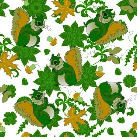 Surrealistic seamless pattern with green squirrels white background with flowers and leaves. Forest motives.
