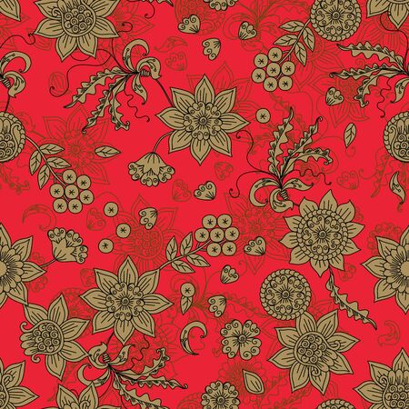 Russian floral ornament. Seamless pattern with gold flowers, leaves, berries on red background. Print for fabric in ethnic style. Banque d'images - 138376227
