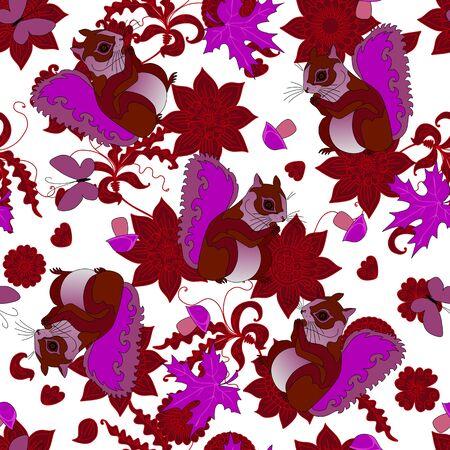Squirrels, flowers, leaves, butterflies and mushrooms. Cute seamless pattern.