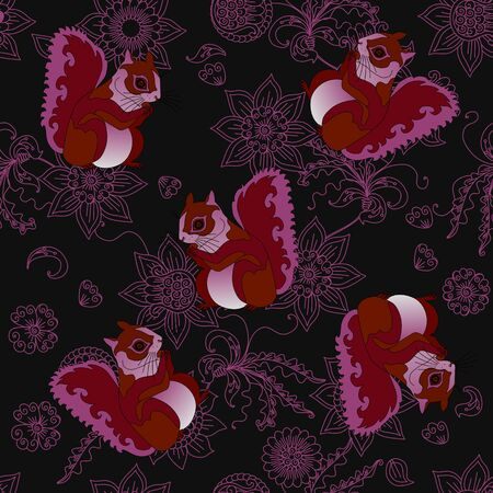 Seamless pattern with squirrels on floral background.