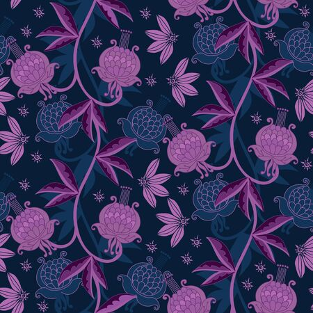 Intricate seamless pattern with blue and violet floral ornament. Beautiful print for fabric and textile.