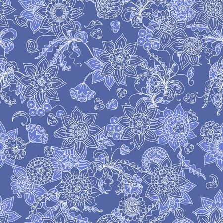 Floral seamless pattern with winter motifs. Beautiful linear white flowers on blue background. Frost patterns.