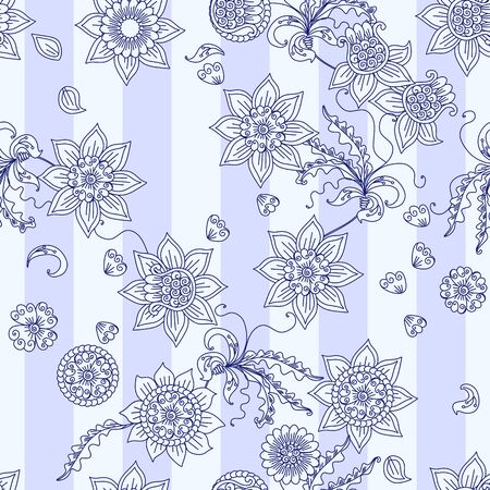 Beautiful seamless pattern with floral ornament on striped background. Fashion print for fabric and textile.