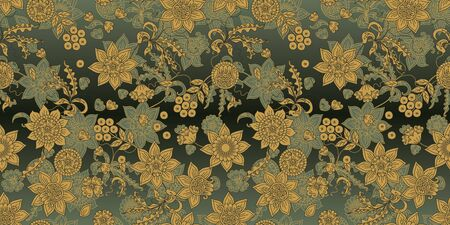 Floral seamless pattern with ethnic motifs. Beautiful hand drawn ornament with flowers, leaves and berries. Иллюстрация