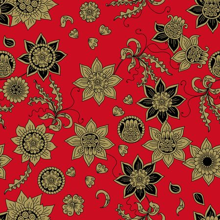 Floral seamless pattern with russian motifs. Gold and black flowers on bright red background.