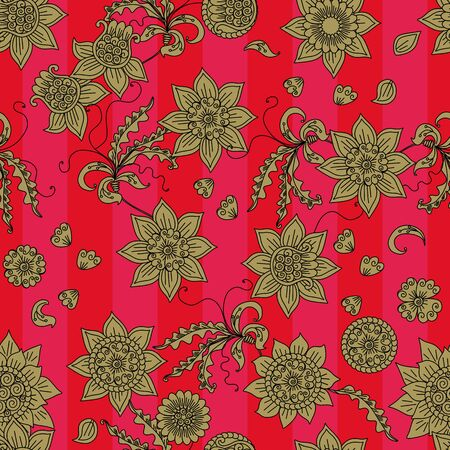 Floral seamless pattern with russian motifs. Golden flowers and leaves on striped red and pink background. Print for fabric in folk style. Иллюстрация