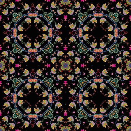 Beautiful seamless pattern with fantasy floral ornament. Fashion print for fabric.