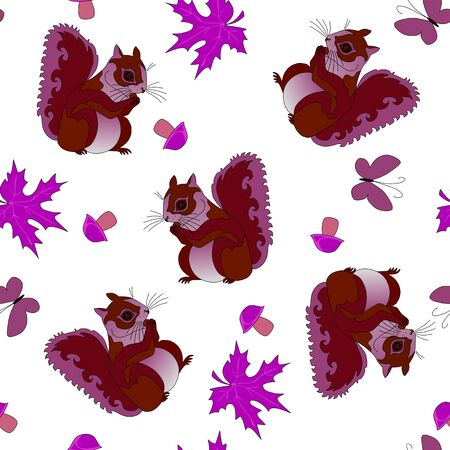 Seamless pattern with squirrels on white background.