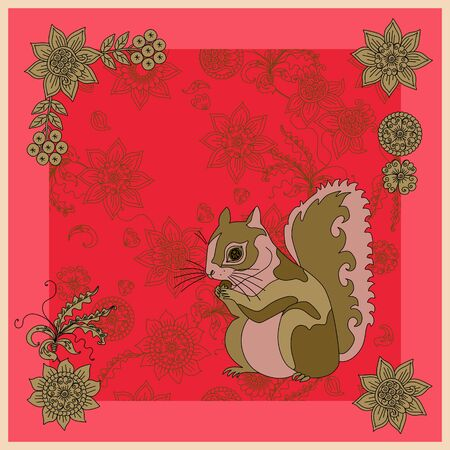 Cute square card with squirrel on floral background.