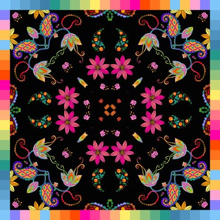 Colorful bandana print with bright flowers on black background in multicolor frame. Fashion design for summer scarf, kerchief. Иллюстрация
