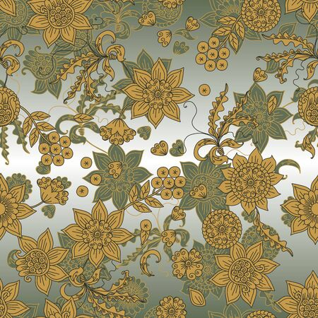 Floral pattern with flowers, leaves and berries. Seamless design. Print for fabric with ethnic motifs.