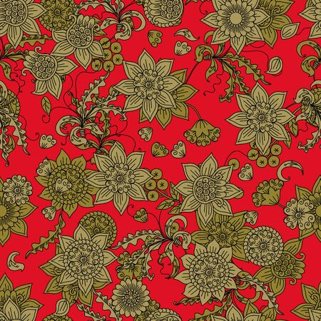 Vector seamless pattern with golden flowers on red background in russian style. Beautiful print for fabric, textile, wrapping paper.