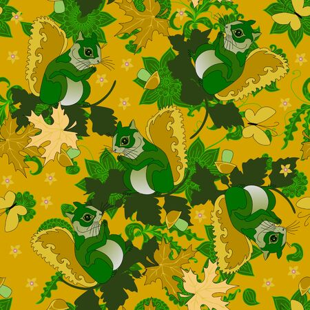 Cute squirrels in forest with leaves and flowers. Seamless pattern in green and yellow colors.