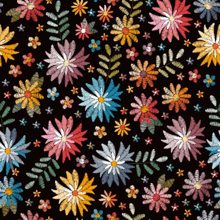 Embroidety seamless pattern with colorful flowers on black background. Fancywork print. Bright summer design.