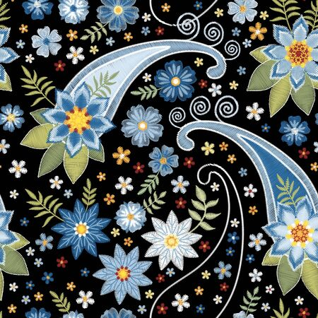 Embroidery seamless pattern with flowers and paisley. Decorative ornament for fabric, textile.