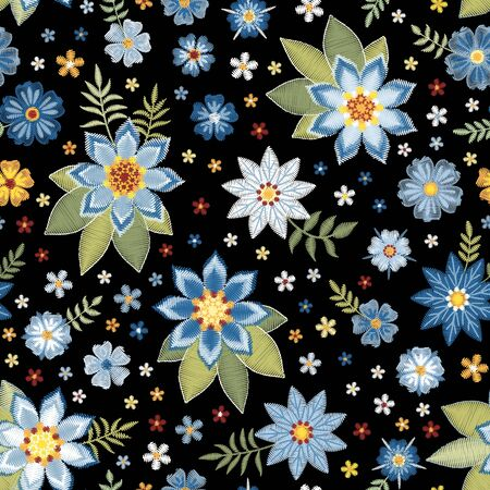 Embroidery floral seamless pattern. Summer print with flowers in blue colors. Fashion design.  Vector embroidered illustration.