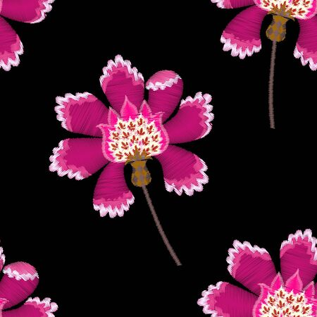 Embroidery seamless pattern with fantasy pink flowers on black background. Vector embroidered illustration. Иллюстрация