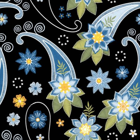 Embroidery seamless pattern with flowers and paisley in blue colors on black background. Ornament in ethnic style for fabric, textile. Иллюстрация