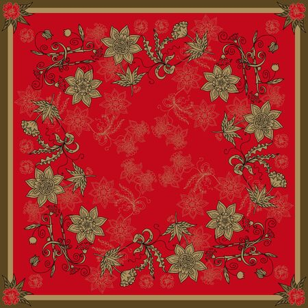 Beautiful bandana print with floral ornament in red and golden colors. Print for square scarf with russian motifs. Иллюстрация