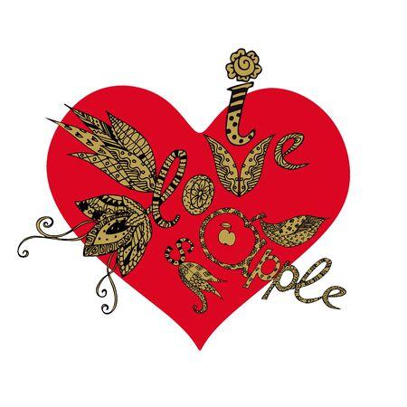 I love apple. Hand drawn lettering on bright red heart. Иллюстрация