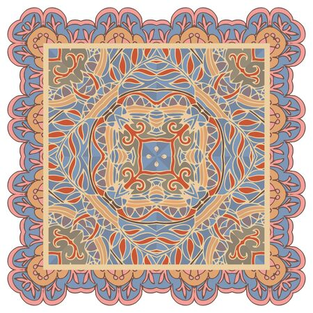 Ethnic ornament square pattern. Print for kerchief, napkin, doily.