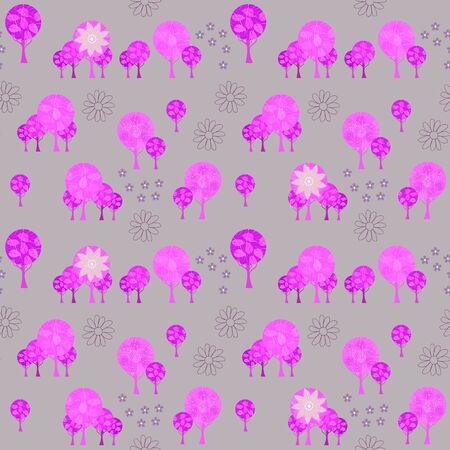 Forest seamless pattern with fantasy trees and flowers.
