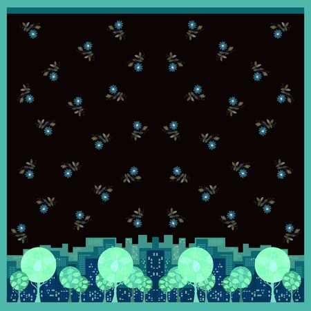 Beautiful square card with trees in the city and flowers in the sky. Cute design for cushion, pillowcase, carpet.