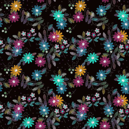 Embroidery seamless pattern with summer flowers. Intricate floral design. Beautiful print for fabric and textile.