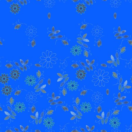 Embroidery seamless pattern with flowers on bright blue background. Vector design.