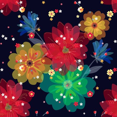 Colorful floral seamless pattern with bright flowers. Fashion print for summer dresses and blouses. Иллюстрация