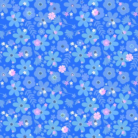 Floral seamless pattern with flowers and leaves on blue background. Beautiful vector illustration. Fashion design. Иллюстрация