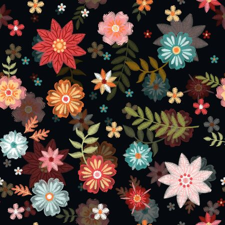 Embroidery floral seamless pattern with colorful summer flowers. Beautiful print for fabric. Иллюстрация