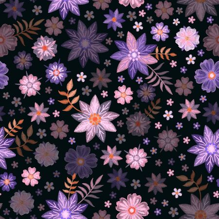 Floral seamless pattern with embroidered flowers on black background.