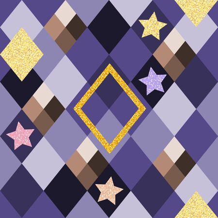 Seamless pattern with geometric ornament and glitter stars. Иллюстрация