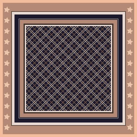 Square pattern with geometric ornament in frame with stars. Handkerchief design. Ilustrace