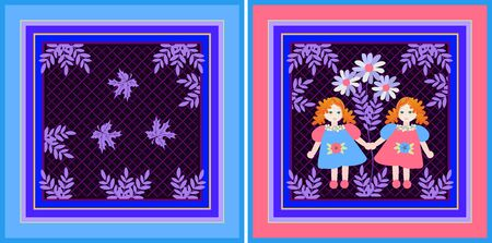 Cute set of two handkerchiefs for mother and daughter. Beautiful design with little girls with red hairs and floral ornament.