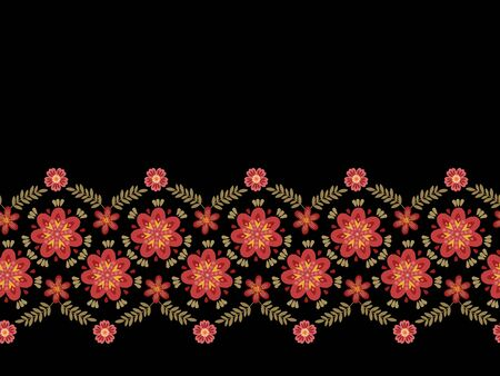 Floral horizontal seamless border. Beautiful flowers in folk style. Fashion print for dresses.