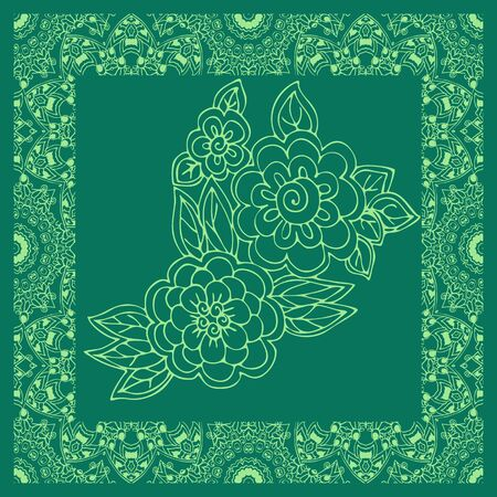 Green bandana print with flowers in ornamental frame. Square silk scarf.