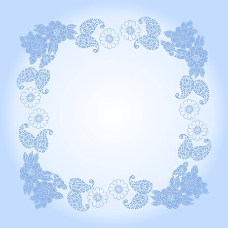Beautiful square frame with flowers in light blue colors. Elegant bandana print. Иллюстрация