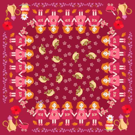 Beautiful square pattern with little red haired girls, birds, flowers, and teapots with cupcakes. Cute vector illustration. Pillowcase, napkin, cushion.