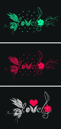 I love music. Beautiful set of cards with lettering love and treble clef.