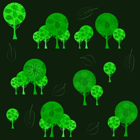 Forest pattern with bright green trees. 向量圖像
