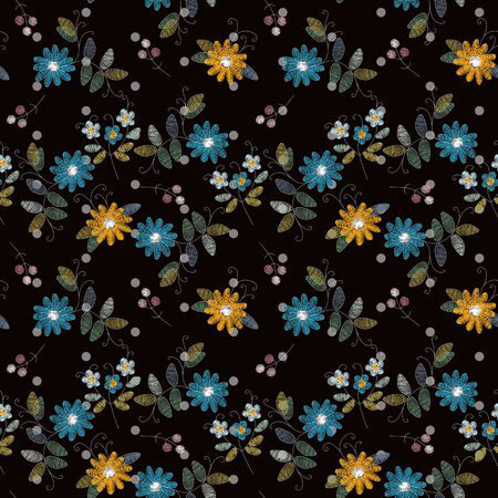 Embroidery seamless pattern with blue and yellow flowers. Beautiful vector print for fabric and textile. Fashion design.