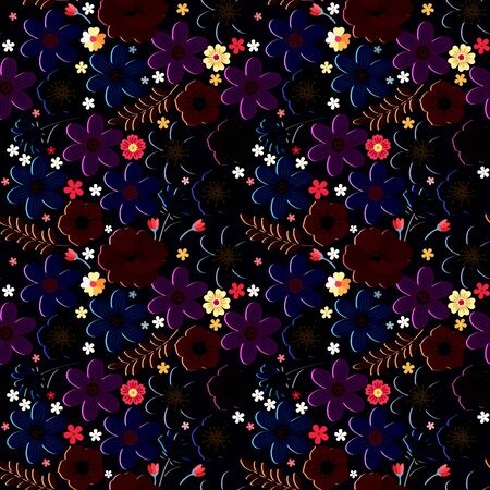 Beautiful floral seamless pattern. Intricate ornament with flowers. Vector design for fabric and textile. Fashion print for dresses and jackets.