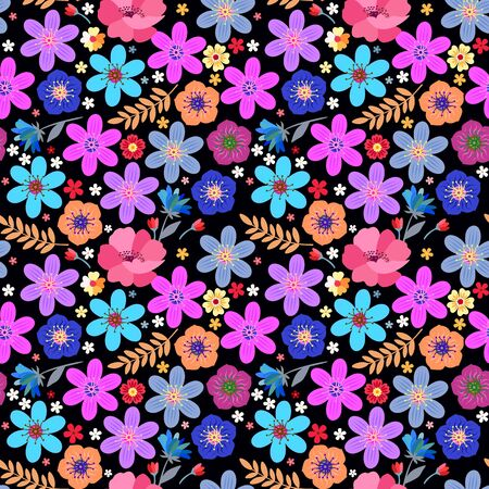 Ditsy floral seamless pattern with colorful flowers and leaves on black background. Vector summer design.