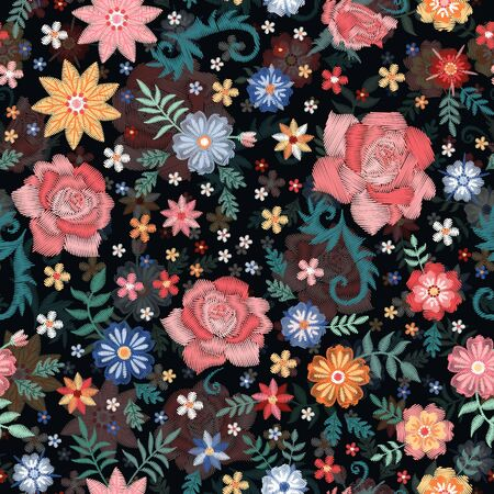 Embroidery seamless pattern with beautiful roses and other flowers. Vector floral ornament. Print for fabric and textile.