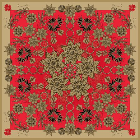Beautiful bandana print with golden flowers on red background. Square scarf design. Shawl with russian motifs. Vector floral ornament.